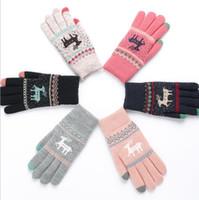 Wholesale Women S Fashion Winter Gloves - Deer warm gloves fingers touch screen glove s Deer Soft Winter Gloves Christmas Gifts Mittens for Women Touch Screen glove LJJK797