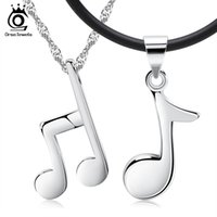 Wholesale Musical Note Necklace Silver - Couple Necklace,Musical Note Design Stylish Pendant,925 Sterling Silver Material on 3 Layer Plated ON44