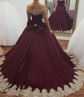 Wholesale quinceanera dress hot pink - 2018 Hot Burgundy with Gold Appliques Quinceanera Dresses Ball Gown Off Shoulders Sweet 16 Sweep Train Party Prom Gowns Evening Dress