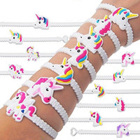 Wholesale White Rubber Wristband - New Fashion Colorful Unisex Unicorn Rubber Bracelet Wristband Bangle Birthday Party Home Jewelry Gift Free Shipping