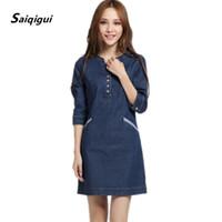 Wholesale Celebrity Style Dresses Wholesale - Wholesale- Saiqigui 2017 Spring Summer Celebrity Style Straight Jeans Women's Denim Dress Thin Blue Solid Three Quarter Sleeve Jeans Dress