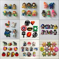 Wholesale Mario Shoes - 4-10pcs lot Trolls Avengers Mario Mickey Heroes Cartoon PVC Shoe Charms Accessories Fit Wristband Bracelets Kid Gift Party Favor Accessories
