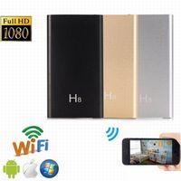 video hareket algılama toptan satış-Sıcak satış H8 WIFI IP Kamera P2P Kamera HD 1080 P 5000 mah Güç Banka Kamera Hareket Algılama Mini Kamera Dijital Video Kaydedici Mini DV
