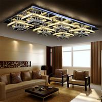 kare kare tavan toptan satış-Modern Led Uzaktan Kumanda Kare Şampanya Kristal Tavan Işıkları Fikstür Yatak Odası Led Kablosuz Mutfak Tavan Plafond Lambası