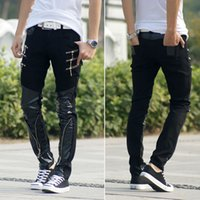 Wholesale Leather Harem Trousers - Wholesale-New fashion Brand European style Casual Hip Hop personality zipper male Faux Leather harem slim Trousers mens skinny pants