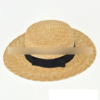 Wholesale Custom Flat Caps - Custom made Mother and daughter sunhats women summer Bows handmade straw sun hat kids beach hat flat Big Brim Floopy Cap A00006