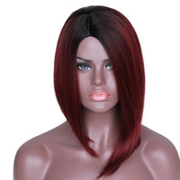 Natural Wave 14 Under $30 I's a wig Ombre Red Bob Wigs for Black Women Synthetic Short Burgundy Hair
