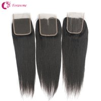 Wholesale Cheap Hair Lace Closure Piece - Unprocessed Brazilian Straight Hair Top Lace Closures 3 part 1B 4X4 Peruvian Virgin Lace Closures Hair Piece Real Soft Cheap Remy Human Hair