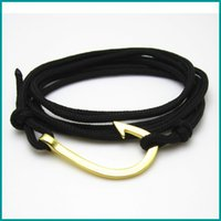 Wholesale Nautical Friendship Bracelet - Free Shipping 10pcs lot hot sale alloy nautical anchor fish hook bracelet friendship nylon string Jewelry
