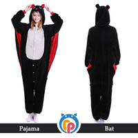 Wholesale female couples costumes - Kigurumi couple pajamas warm flannel animal bat adult sleepwear cosplay onesie