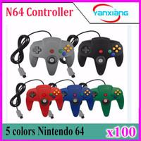 Wholesale N64 Joypad - Classic Retrolink Wired Gamepad joystick for N64 controller special Nintendo N64 Game Console Analog gaming joypad 100 pcs YX-N64-1