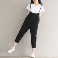 Wholesale Jumpsuit Waist Trousers - Calf-Length Women Loose Trousers Solid Color Casual High Waist Overalls Summer Jumpsuits Female Plus Size Vintage Pants