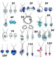 Wholesale Variety Wedding Gifts - 12 Set high quality crystal diamond pendant necklace and earrings Sets a variety of styles for Women Jewelry Set