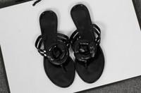 Wholesale Wholesale Flip Flops Buckle - 2017 Summer New Camellia Slippers Women Crystal Flower Flip-Flops Sandals Flat Jelly Shoes Sandals