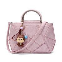 Wholesale Monkey Pockets - Luxury Black Pu Leather Handbag Women Bag Designer Handbags High Quality Cute Monkey Women Famous Brand Tote Crossbody Hand Bag