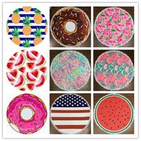 Wholesale pie designs - 9 Designs Round Polyester Beach Shower Towel Blanket Yoga Towel Pineapple Pie Watermelon Towel Rose Flag Shell