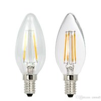 Wholesale Led Chip Base - LED Candle Lamp C35 COB Filament Bulb Chandelier 2W 4W E14 Base 110V 220V AC 110 LM W LED Lights COB Chips Bulbs New Light Sourse Bulbs Hot