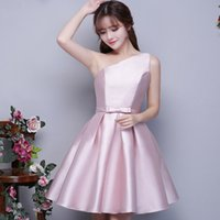 Wholesale Homecoming Dresses Mini One Shoulder - 2017 Pink A-Line Short Prom Dresses One-Shoulder Sash Bow Lace-up Mini Evening Dress Sweet Homecoming Gowns