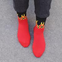 Wholesale Flame Socks - Men Fashion Hip Hop Design Red Flame Pattern Crew Socks Lifelike Jacquard Fire Socks Classic Street Skateboard Cotton Long Socks