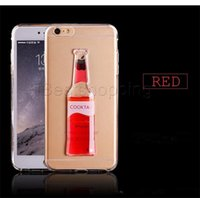 Wholesale Iphone Covers Beer - Luxury Glitter Cocktail Beer colorful Quicksand Liquid hard back cover clear phone case for iphone 5 5S 6 6s plus Samsung s6 edge Note 3 4