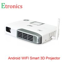 negocio de red al por mayor-Venta al por mayor-Android 4.4 Mini proyector multimedia LED Smart Home Business Network HD proyector sin proyector de TV de pantalla con control remoto