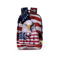 Wholesale lap bags - Stereo American Flag 3D Printing Student Backpacks Boy Girl Bags 2017 New Fashion Unisex Travel Bags Lap Top Backpack BB035BL