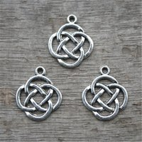 Wholesale Silver Knot Charms - 20pcs Knot Charms Knot Pendants Antiqued Silver Tone Double Sided 15 x 15 mm