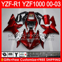 Wholesale yamaha r1 fairings - 8Gift 23Color Body For YAMAHA YZF1000 YZFR1 02 03 00 01 red black YZF-R1000 62HM9 YZF 1000 R 1 YZF-R1 YZF R1 2002 2003 2000 2001 Fairing
