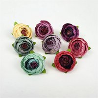 Wholesale Tea Rose Weddings - 3CM Silk Artificial Tea Rose Bud Flowers Head For Wedding Decoration DIY Wreath Gift Box Scrapbooking Craft Fake Flowers G54