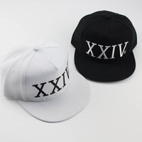 Wholesale Plain White Snapback Hats - Bruno Mars Hat Snapback Hip Hop XXIV Baseball Caps New Arrival Letter Man Plain Adjustable Snapback Hats Caps Black White