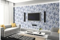 Wholesale Orchids Quality - High Quality Customize size fashion blue orchid flowers seamless stitching mural 3d wallpaper 3d wall papers for tv backdrop
