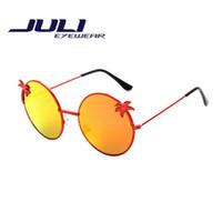 gafas de sol de forma redonda al por mayor al por mayor-Al por mayor-moda estilo de verano árboles de coco forma redonda gafas de sol de pareja pareja gafas modelos masculinos y femeninos de colores lente oculos 3157C