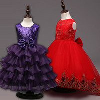 Wholesale Bridesmaid Clothes - 2017 New Girl Dress with bow Flower Embroidered Party Wedding Bridesmaid Princess Dresses Formal Children Clothes