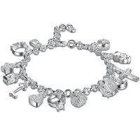 Wholesale 925 Bracelets For Sale - Hot Sale 925 Silver Plated Jewelry 13 Charms Pendants Lovely Crystal Bracelet Fashion Girl Ladies Bracelets For Party