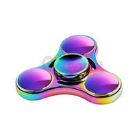Wholesale 2017Rainbow Fidget Spinner Hand Spinners Finger Decompression Gyroscope EDC Toys Mins Spins Tri Spinner Spiral Gyro EDC Fidget With Box
