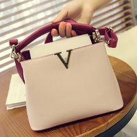 Wholesale Top Girl Bags - top-handle bags leather famous designer brand V bags women leather handbag high quality Small shoulder crossbody Bag for girl