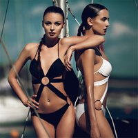Wholesale Wholesale Swimwear Rings - Sexy Swimwear For Women Sexy Ring Bandage One Piece Women Swimsuit Hollow Out Monkini Bathing Suits