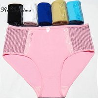 Wholesale plus size cotton panties - Rebantwa Wholesale Dot Breathable Women Panties Plus Size Lace Sexy lingerie Pink Underwear Cotton Panties Mother's Briefs Knickers 4XL