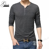 Wholesale Stylish Shirt Men Clothing - Men's Fashion Slim Fit Long Sleeve T-Shirts Stylish Men V Neck Cotton T Shirt Tops Tee Outdoor Street Pullover Clothing