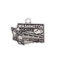 Wholesale metal charm letter sliders - Free shipping Antique Metal Washington State Map Charm Pendant DIY Handmade Men necklace Jewelry 21*17mm 20 pcs lot