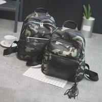Wholesale Camouflage Fashion For Girl - Fashion Design Women Nylon Shoulder Bags Tassel Sport Casual Camouflage School Backpack for Teenager Girls