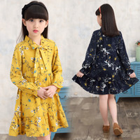 Wholesale Korea Girls Style - Everweekend Girls Floral Chiffon Dress Korea Fashion Spring Autumn Bow Dress Candy Color Sweet Children Cute Princess Dresses