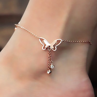 Wholesale Rose Gold Anklets - 1Pcs Tassel Anklets Casual Beach Vacation Anklets Bracelets Jewelry Ankle Chain New Butterfly Single Rose Gold Anklet