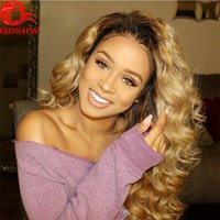 Blonde Ombre Full Lace Perucas para mulheres brancas Glueless Blonde Lace Wigs Cabelo humano Onda corporal Onda Frente 1B Perucas loiras Bleached Knots