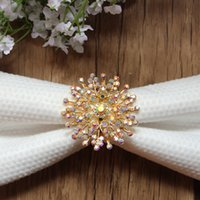 Wholesale Crystal Napkin Rings Wholesale - Wholesale- Free Shipping Wholesale 20pcs lot Rhinestone Crystal AB Napkin Ring Serviette Holder Wedding Decoration Party Favor LSNR005