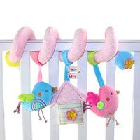 Wholesale Babyplay Stroller - Wholesale- 1 pcs New Cute Birds Music Spiral Activity Stroller Car Seat Cot Lathe Hanging Babyplay Travel Newborn Baby Rattles Infant Toys