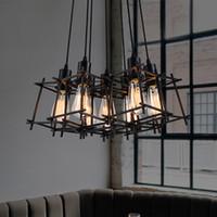 endüstriyel metalik süsleme ışıkları toptan satış-Siyah Metal Kolye Lambaları Endüstriyel Retro Kolye Işıklar Fikstürü Restoran Pub Ev Kapalı Aydınlatma Amerikan Droplight Avrupa Armatür