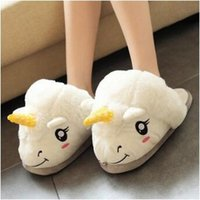 Wholesale Big Animal Slippers - 2 Colors 24cm Unicorn Plush Slippers Unicorn Casual Shoes Warm Household Slippers for Unisex Big Children Shoes 2pcs pair CCA7490 10pairs