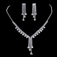 Wholesale Bride Jewelry Necklace Set - 2017 upscale bridal jewelry silver plated diamond necklace tassel romantic bride necklace earrings accessories, free shipping.