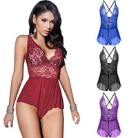 Wholesale Lady Onesies - 2018 New Sexy Womens Ladies Lingerie Babydoll Sleepwear Backless Lace bodysuit Underwear 4 Colors Plus Size